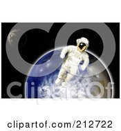 Royalty Free RF Clipart Illustration Of A Floating Astronaut By Earth by patrimonio