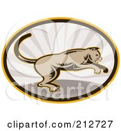 Royalty Free RF Clipart Illustration Of A Jumping Cougar Logo by patrimonio