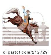 Rodeo Cowboy Riding A Horse - 1