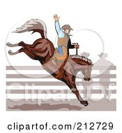 Royalty Free RF Clipart Illustration Of A Rodeo Cowboy Riding A Horse 1