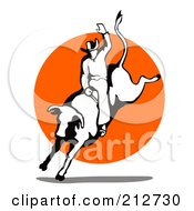 Royalty Free RF Clipart Illustration Of A Rodeo Cowboy Riding A Bull 1