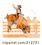 Royalty Free RF Clipart Illustration Of A Rodeo Cowboy Riding A Bull 2