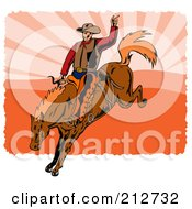 Royalty Free RF Clipart Illustration Of A Rodeo Cowboy Riding A Horse 3