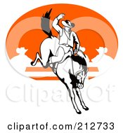Royalty Free RF Clipart Illustration Of A Rodeo Cowboy Riding A Horse 5
