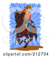 Royalty Free RF Clipart Illustration Of A Cowboy On A Brown Horse