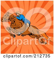 Royalty Free RF Clipart Illustration Of A Rodeo Cowboy Riding A Horse 7