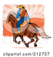 Royalty Free RF Clipart Illustration Of A Rodeo Cowboy Riding A Horse 2