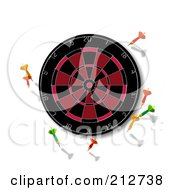 Royalty Free RF Clipart Illustration Of Darts Surrounding A Board by patrimonio