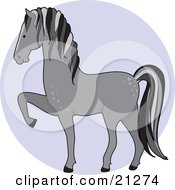 Clipart Illustration Of A Prancing Gray Dapple Horse In Profile Over A Blue Circle