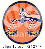 Royalty Free RF Clipart Illustration Of A Hand Holding The Scales Of Justice