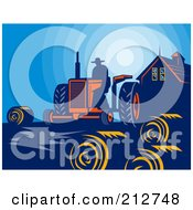 Royalty Free RF Clipart Illustration Of A Farmer Using A Tractor Near Hay Bales At Dusk