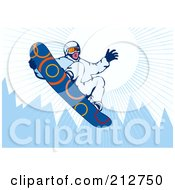 Royalty Free RF Clipart Illustration Of A Snowboarder In The Mountains 1 by patrimonio