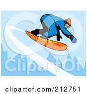 Royalty Free RF Clipart Illustration Of A Snowboarder In The Mountains 4