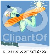 Royalty Free RF Clipart Illustration Of A Snowboarder In The Mountains 3