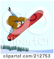 Royalty Free RF Clipart Illustration Of A Snowboarder In The Mountains 5