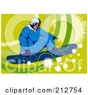 Royalty Free RF Clipart Illustration Of A Snowboarder Over Green by patrimonio