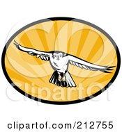 Royalty Free RF Clipart Illustration Of A Flying Hawk Logo