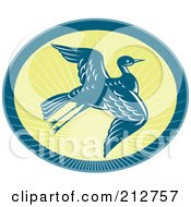 Royalty Free RF Clipart Illustration Of A Flying Heron Logo by patrimonio