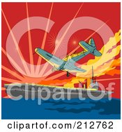 Royalty Free RF Clipart Illustration Of A Plane Attack On A Ship by patrimonio
