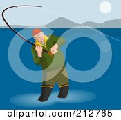 Royalty Free RF Clipart Illustration Of A Fly Fisherman Wading