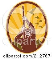 Royalty Free RF Clipart Illustration Of A Shooting Hunter Logo by patrimonio