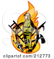 Royalty Free RF Clipart Illustration Of A Flame And Fireman Logo