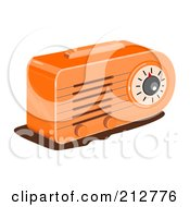 Royalty Free RF Clipart Illustration Of A Retro Orange Radio by patrimonio