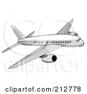 Royalty Free RF Clipart Illustration Of A White Commercial Airliner by patrimonio