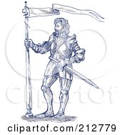 Royalty Free RF Clipart Illustration Of A Sketched Blue Knight With A Flag