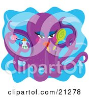 Clipart Illustration Of A Feminine Purple Octopus Applying Lipstick And Holding Cosmetics In Her Tentacles