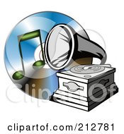 Royalty Free RF Clipart Illustration Of A Phonograph Over A Cd And Music Note