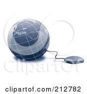Royalty Free RF Clipart Illustration Of A Computer Mouse Wired To A 3d Globe
