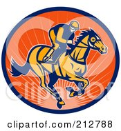 Royalty Free RF Clipart Illustration Of A Jockey Logo