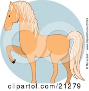 Clipart Illustration Of A Prancing Palomino Horse In Profile Over A Blue Circle