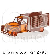 Royalty Free RF Clipart Illustration Of A Retro Delivery Truck by patrimonio