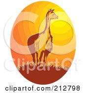 Royalty Free RF Clipart Illustration Of A Vicuna At Sunset Logo by patrimonio