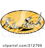 Royalty Free RF Clipart Illustration Of A Triathlon Logo by patrimonio