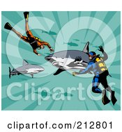 Royalty Free RF Clipart Illustration Of Scuba Divers With Sharks by patrimonio