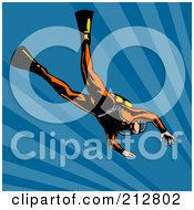 Royalty Free RF Clipart Illustration Of A Scuba Diver In Blue Water