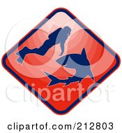 Royalty Free RF Clipart Illustration Of A Red Scuba And Shark Logo