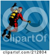 Royalty Free RF Clipart Illustration Of A Scuba Diver With A Shark by patrimonio