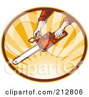 Royalty Free RF Clipart Illustration Of A Chainsaw Logo