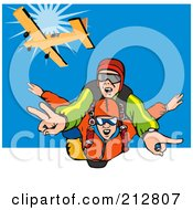Royalty Free RF Clipart Illustration Of People Falling While Skydiving by patrimonio