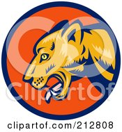 Royalty Free RF Clipart Illustration Of A Puma Face Logo by patrimonio