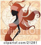 Clipart Illustration Of A Beautiful Lady With Long Red Hair Wearing An Orange Dress And Leaning Slightly Backwards Over A Scrolled Background