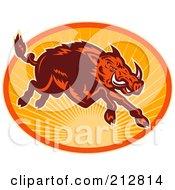 Royalty Free RF Clipart Illustration Of A Running Boar Logo