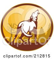 Royalty Free RF Clipart Illustration Of A White Howling Wolf Logo by patrimonio