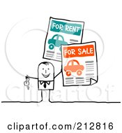 Royalty Free RF Clipart Illustration Of A Stick Business Man With Car For Sale And For Rent Signs