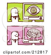 Royalty Free RF Clipart Illustration Of A Digital Collage Of Stick Business Men With Eye And Brain Computers by NL shop