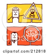 Royalty Free RF Clipart Illustration Of A Digital Collage Of Stick Men With Signs by NL shop